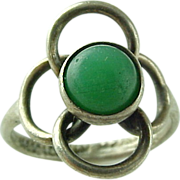 Mexico Sterling Silver Chrysoprase Ring