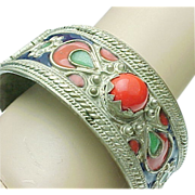 Kabyle/Berber Style Colorful Enameled & Coral Hinged Bracelet
