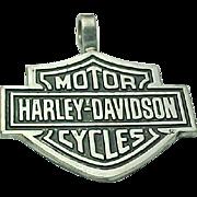 Sterling Silver Large Harley Davidson Shield Pendant