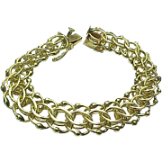 REDUCED 14k Yellow Gold Double Row Quad Link Charm/Fancy Bracelet