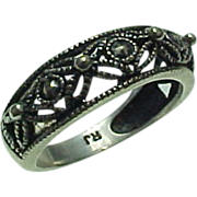 Vintage Sterling Silver, Filigree Beaded Band
