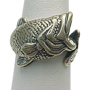 Retired Kabana Sterling Silver Bass Wrap Around Ring