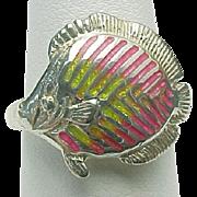 Vintage Sterling Silver Kabana Enameled FISH Ring