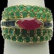 14K Yellow Gold Ruby, Emerald & Blue Sapphire Band ~ Circa 1990