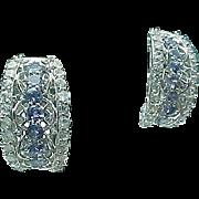 Sterling Silver Pierced Tanzanite & White Topaz Huggie Earrings