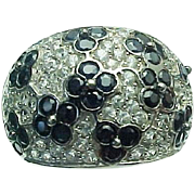 14K White Gold Black & White Sapphire Flower Ring ~ Circa 1990