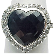 14 karat White Gold 5.00 Carat Black Sapphire & White Topaz HEART Ring