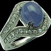 Vintage Cabochon Tanzanite  and White Topaz Ring ~ Circa 1990