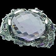 SALE 10K White Gold 5.00 Carat Amethyst & White Topaz Ring