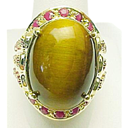 Unisex 10K Yellow Gold Tigers Eye & Ruby Ring ~ Circa 1990