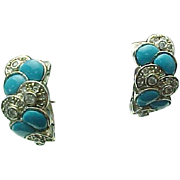Sterling Silver Sleeping Beauty Turquoise & Topaz Lever Back Earrings