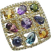 SALE Colorful 14K Yellow Gold Large Square Multi Gemstone & Diamond Ring