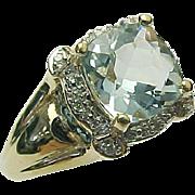 14K Yellow Gold 2.75 Cushion Cut Aqua Diamond & Blue Topaz Ring
