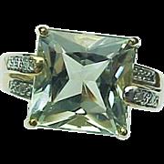 10K Yellow Gold 9.5 Carat Green Amethyst & Diamond Ring