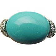 Sterling Silver Sleeping Beauty Turquoise & White Topaz Ring