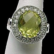 14K White Gold Faceted 4.20 Carat Lemon Quartz, White Sapphire & Fire Opal Ring ~ ...