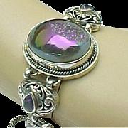 Sterling Silver Amethyst Druzy Link Toggle Bracelet
