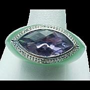 Vintage Jade, Amethyst & Diamond Chunky Ring