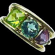 14K Yellow Gold Multi Gemstone /Diamond Ring