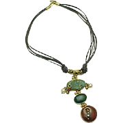 Sterling Silver/Vermeil Triple Leather Cord Turquoise, Jasper, Chrysoprase, Pearl Necklace