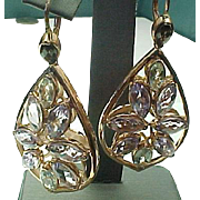 Rose Gold Color Vermeil Green And Purple Amethyst Pierced Dangle Earrings