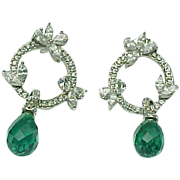 Sterling Silver Stunning Faceted Emerald & Simulated Diamond Dangle Earrings