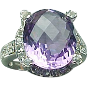 Sterling Silver African 4.50 Carat Amethyst & Sapphire Ring