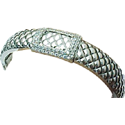 Sterling Silver Textured Hinged Simulated Diamond Bangle Bracelet