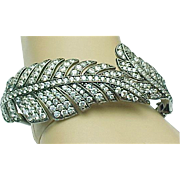 SALE Sterling Silver Exquisite Simulated Diamond Bypass Leaf Hinged Bangle