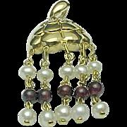 10K Yellow Gold Garnet, Pearl & Diamond Dangle Pendant