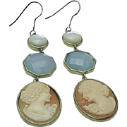 Carved Cameo, Chalcedony and Moonstone Pierced Wire Dangle Earrings