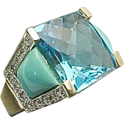 14K Yellow Gold Turquoise & Topaz Diamond Ring