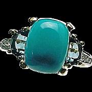 14K Yellow Gold Turquoise, Topaz & Diamond Ring