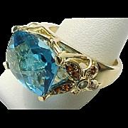 14K Yellow Gold 8.00 Carat London Blue Topaz & Ruby Flower Ring ~ Circa 1995