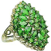 14 K Yellow Gold 4.00 Carat Chrome Diopside Cluster Ring