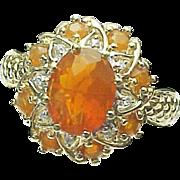 14k Yellow Gold Fire Opal & Diamond Ring ~ Circa 1995