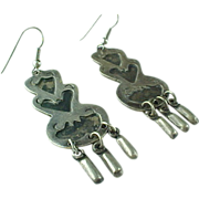 Eddie S Signed, Sterling Silver Mexico Long Dangle Earrings