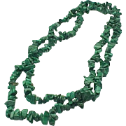 Long Polished Malachite Chip Necklace