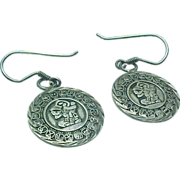 Mexico Sterling Silver Mayan Calender DANGLE Earrings