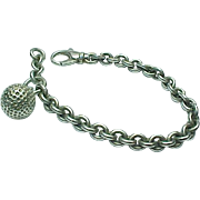Vintage Sterling Silver Rolo Link Solid Golf Ball Bracelet