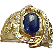 SALE Vintage 14K Yellow Gold, Artistic Sapphire & Diamond Ring