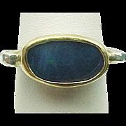 Custom Design Sterling Silver & 14K Yellow Gold Boulder Opal Ring