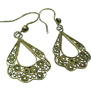 Vintage Sterling Silver /Vermeil Filigree Pierced Dangle Earrings