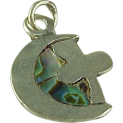 Mexico Sterling Silver Abalone Cross & Moon Pendant/Charm