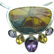 Sterling Silver Agate, Amethyst, Citrine Collar Necklace/Brooch
