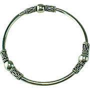Hand Crafted Sterling Silver Beaded Bali Style Bangle