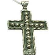 Vintage Mexico Sterling Silver Beaded LARGE Cross