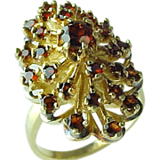 SALE Enchanting 14 K Yellow Gold Bohemian Garnet Cluster Ring