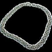 "Vintage Sterling Silver Byzantine 18"" Chain 11.25 mm width"
