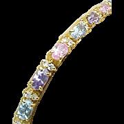 Sterling Silver/Vermeil Colorful Sapphire & Diamond Tennis Bracelet